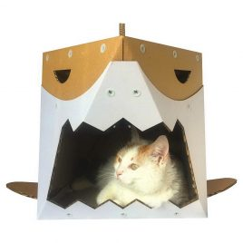 Shark Cardboard Cat House with cat4