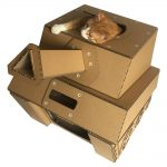 Tank Cardboard Cat House with cat 3
