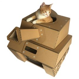 Tank Cardboard Cat House with cat 4