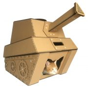 Tank Cardboard Cat House with cat 5