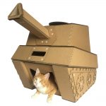 Tank Cardboard Cat House with cat 6