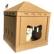 The Temple Cardboard Cat House with cat1
