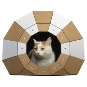 Twist Cardboard Cat House with cat1