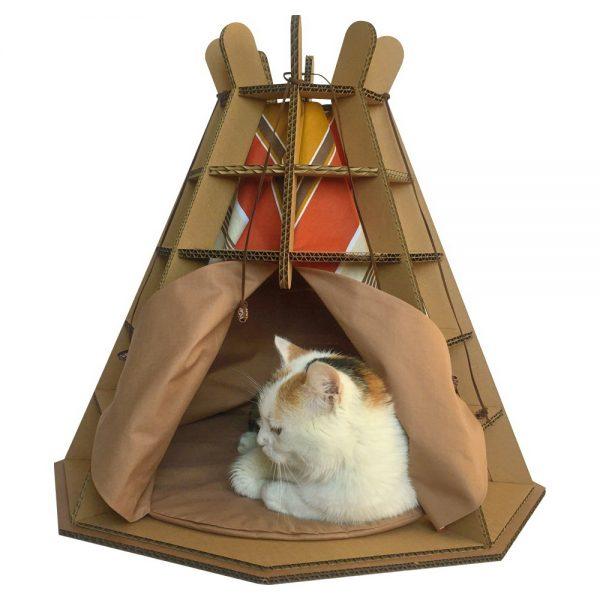 Wigwam Cardboard Cat House with cat1