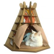 Wigwam Cardboard Cat House with cat2