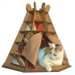 Wigwam Cardboard Cat House with cat3