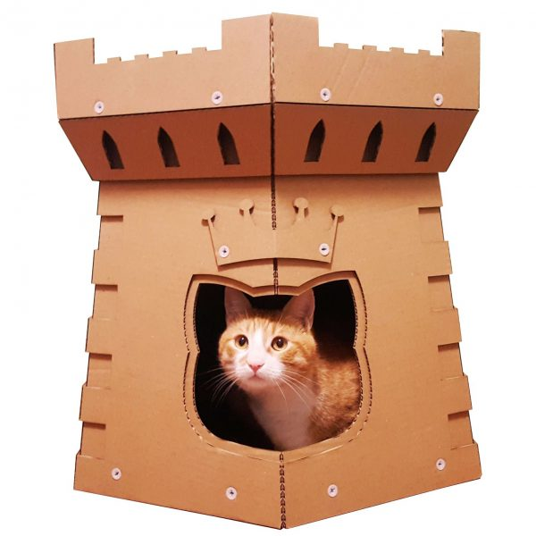 Cat Tower Cardboard Cat House design medievil defence front entrance view Simba inside