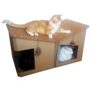 Friends Cardboard Cat House with 3 cats