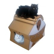 UFO Alien Spacecraft Cardboard Cat House with cats 2