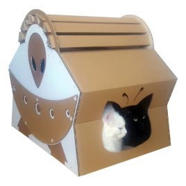 UFO Alien Spacecraft Cardboard Cat House with cats