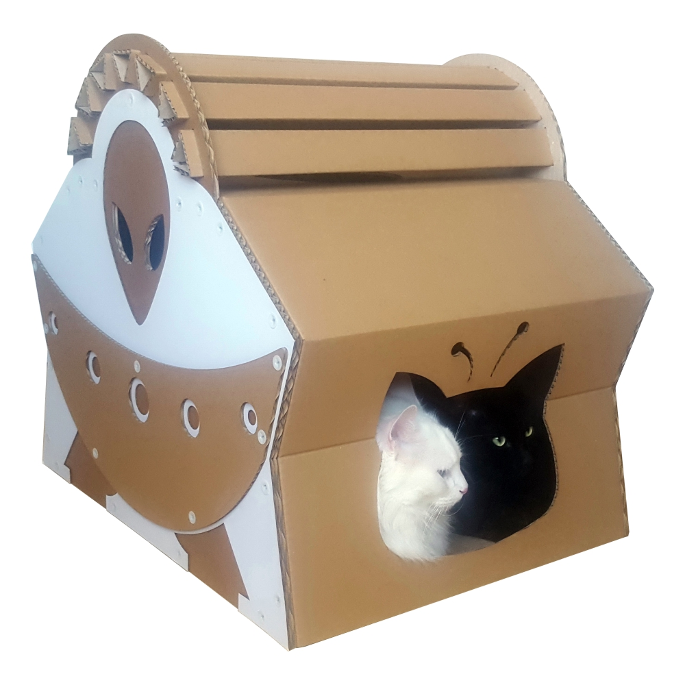 Cardboard House For Cats Ufo Alien Spacecraft House Close Encounters Of The Purred Kind