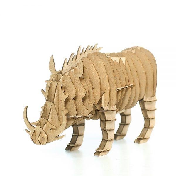 Wild Boar 3D Cardboard Puzzle front left