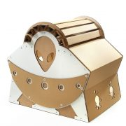 UFO Alien Spacecraft Cardboard Cat House back