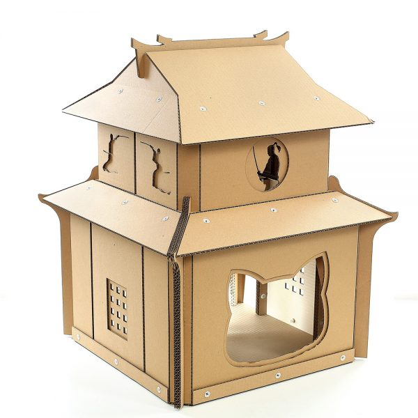 Japanese Samurai Cardboard Cat House front left