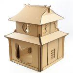 Japanese Samurai Cardboard Cat House front right