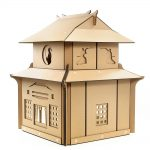 Japanese Samurai Cardboard Cat House rear left