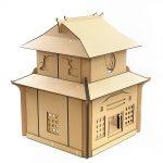 Japanese Samurai Cardboard Cat House rear right