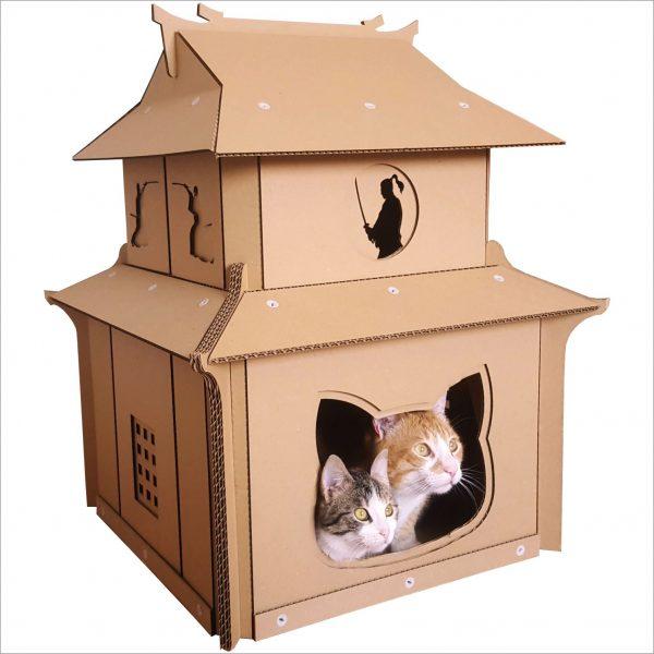Japanese Samurai Cardboard Cat House dojo in the making Jack top ninja inside protecting