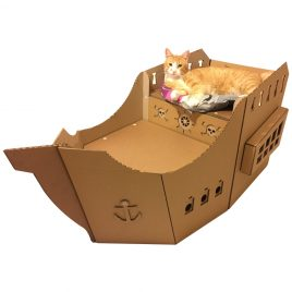 Pirate Ship Cardboard Cat House back with cat
