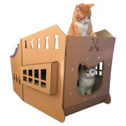 Pirate Ship Cardboard Cat House back with cats