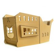 Pirate Ship Cardboard Cat House rear right