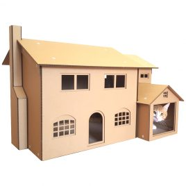 The Simpson Cardboard Cat House with cat 3