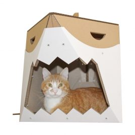 Great White Cardboard Cat House front with cat
