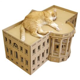 The White House Cardboard Cat House top left with cat