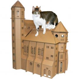 St. Paul's Cathedral Cardboard Cat House design quality aestetics cat inside on roof front right side