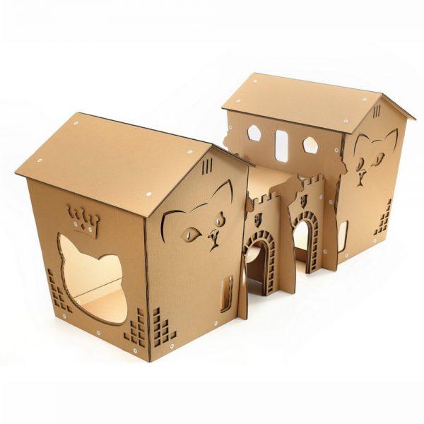Twin Castles Cardboard Cat House