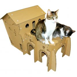 kings palace cardboard cat house throne and top view front right