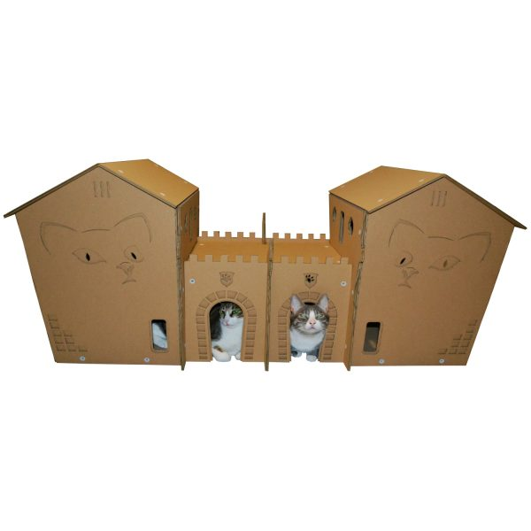 twin castles cardboard cat house cats inside