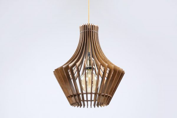 Jessica Original Wooden Modern Pendant Light Chandelier nut color bottom view