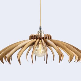 Kimberly Original Wooden Modern Pendant Light Chandelier nut color front second view
