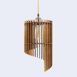 Nicole Original Wooden Modern Pendant Light Chandelier nut color front view