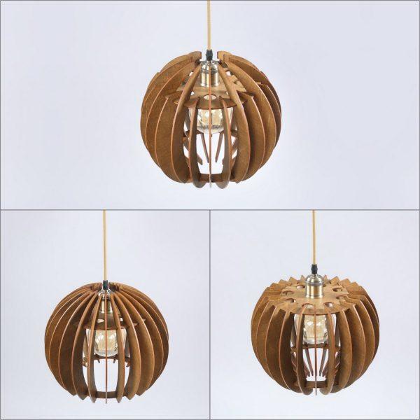 Sarah Original Wooden Modern Pendant Light Chandelier nut color three variations top view