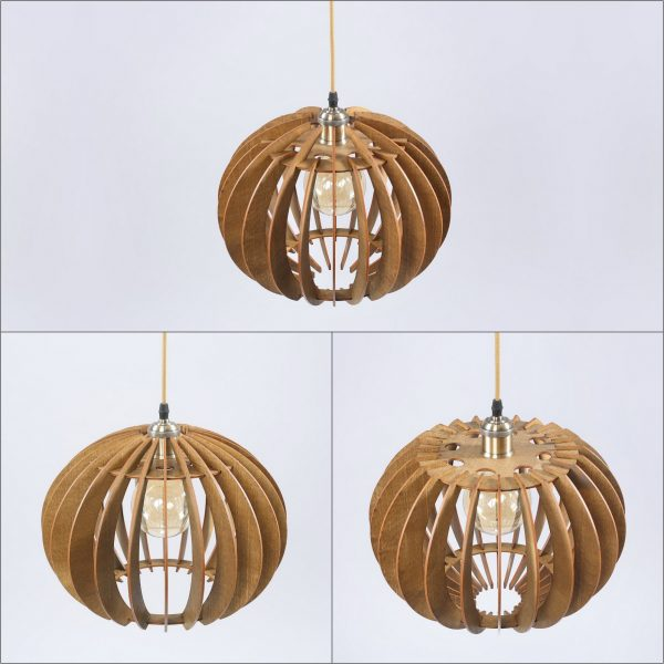 Susan Original Wooden Modern Pendant Light Chandelier nut color three variations top view