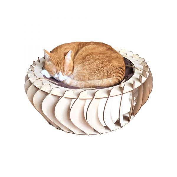 Infinity well wooden craft bed with cat