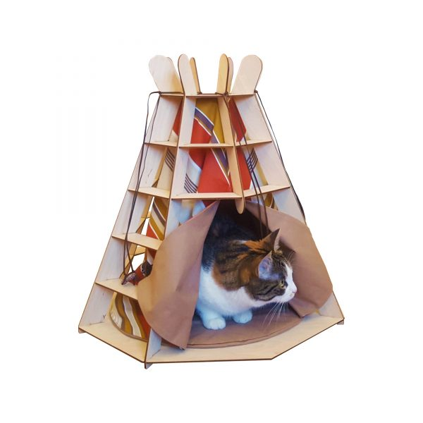 TiPi wooden craft bed with Cat