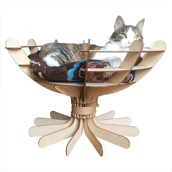 Ice Bowl Wooden Craft Bed with cat